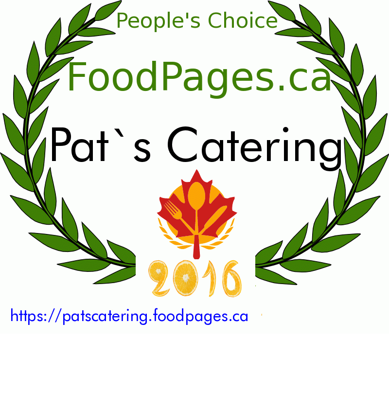 Pat`s Catering FoodPages.ca 2016 Award Winner